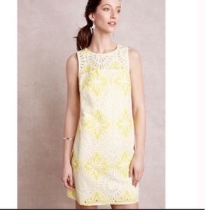 Anthropologie Weston Lemon Lace Shift Dress S NWT
